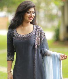Ash Chanderi Suit with Floral Work Dupatta