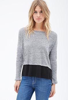 Contemporary Layered Crepe-Hem Marled Sweater   LOVE21 - 2000138151