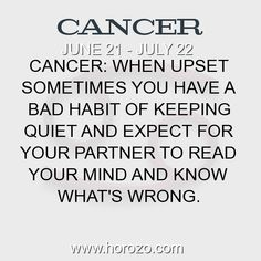 Fact about Cancer: Cancer: When upset sometimes you have a bad habit of... #cancer, #cancerfact, #zodiac. Cancer, Join To Our Site https://www.horozo.com  You will find there Tarot Reading, Personality Test, Horoscope, Zodiac Facts And More. You can also chat with other members and play questions game. Try Now!