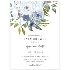 Blue Florals Baby Shower Invitation | Forever Your Prints