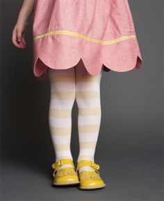 scallop hem, striped tights, yellow shoes  .