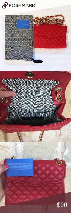 """Rebecca Minkoff Quilted Mini Affair in Red This is an AUTHENTIC Rebecca Minkoff Quilted Mini Affair in Red.  It has never been used, new without tags.  Chain can be adjusted for a shoulder bag or for a cross body.   8.5""""W X 6""""H X .5""""D 12"""" shoulder strap drop Genuine quilted leather Interior pocket Magnetic snap flap closure Custom light gold hardware Exclusive lining + matching dust bag Rebecca Minkoff Bags Crossbody Bags"""