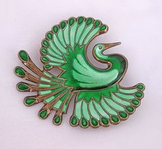 Vintage Sterling Enamel Norway David-Andersen Bird of Paradise Brooch Green