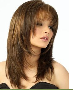 Vintage Hairstyles With Bangs Medium Brown Straight Human Hair Wigs - If you're looking for Medium Brown Straight Human Hair Wigs, HoWigs is the perfect choice. Order Human Hair Wigs at professional online shop. Layered Haircuts With Bangs, Hairstyles For Round Faces, Hairstyles With Bangs, Layered Hairstyles, Trendy Hairstyles, Hairstyle Ideas, Pixie Haircuts, Prom Hairstyles, Straight Hairstyles