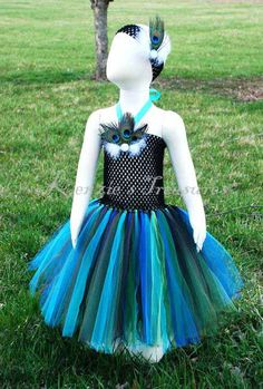 Natural Peacock Tutu Dress and Matching by KenziesTreasures, $33.00 Newborn-24month