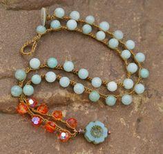 Poppy crochet necklace vintage inspired boho by Mollymoojewels