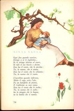 Vintage Books, Vintage Posters, Learning Stories Examples, Mama Image, Nursery Rhymes Lyrics, Learn To Speak Italian, Italian Lessons, Vintage School, Italian Language