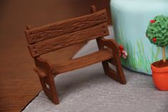 {Cute fondant park bench by Bronnie Bakes}