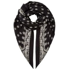 Saint Laurent Paisley Square Scarf (17 775 UAH) ❤ liked on Polyvore featuring accessories, scarves, paisley scarves, square scarves, print scarves, patterned scarves and paisley shawl