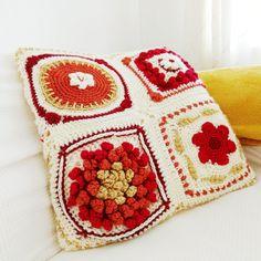 Crochet Fall, Love Crochet, Crochet Blogs, Crochet Cushions, Crochet Pillow, Crochet Square Patterns, Crochet Squares, Shaggy Cushions, New England Fall