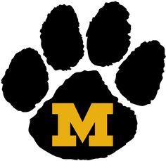 Missouri Tigers Missouri Tigers Alternate Logo 1986 A Black Tiger Paw With A Tiger Paw Missouri Tigers Paw Logo