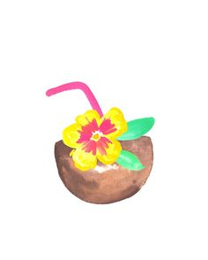 Hello Pina Colada! | Watercolor art print by Kristen Laczi of Hello Monday Design | Hibiscus | Tropical Flower | Coconut | Tropical Drink | Hawaii | Tropical Art | Beach Art | Beach Drinks | Vacation Mode | Watercolor Painting | Yellow & Pink Flower | Seaside | Beachy
