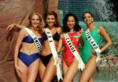 """Miss Universe Canda 1996 Renette Cruz, from right, together with (L-R) Miss Switzerland Stephanie Berger, Miss USA Ali Landry and Miss Finland Iyabode Ololade """"Lola"""" Odusoga Ali Landry, Miss Usa, Sexy Body, Switzerland, Bikinis, Swimwear, Finland, Bodies, Universe"""