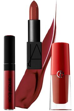 Smashbox Be Legendary Liquid Lip in Brick Trick, $24,sephora.com; NARS Audacious Lipstick in Mona, $34, narscosmetics.com; Giorgio Armani Beauty Lip Magnet Liquid Lipstick in 403 Vibrato, $39, sephora.com.