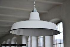 Fabriklampe weiß 41cm Emaille Lampe Lamp Enamel
