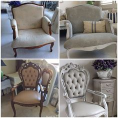 """Have to share these painted chair makeovers I did a while ago. The top chair is fabric and the bottom chair is vinyl. I painted and waxed both with Annie…"""