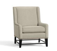 Berkeley Upholstered Armchair - 4 of these on left side of living room In Sunbrella Performance Herringbone Oatmeal