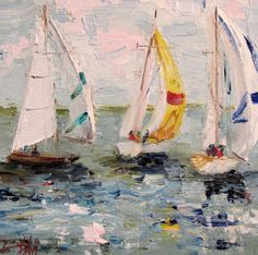 Watercolor Sailboats   Painting of the Day, Daily Oil Paintings by Delilah