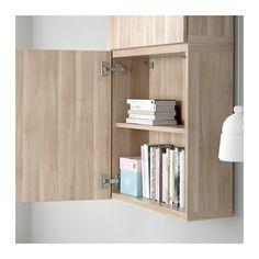 BESTÅ Wall cabinet with 2 doors - Lappviken walnut effect light gray - IKEA