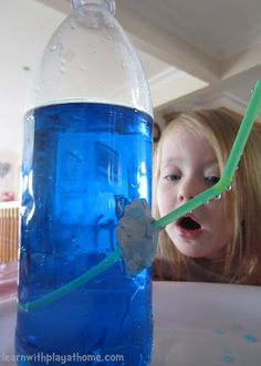 Learn with Play at home: Science for Kids: Water bottle fountain (balloon on top)