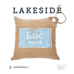 BoatBedding-Brunelli-coussin-Lac 20x20 Burlap, Reusable Tote Bags, Collection, Cottage, House, Decorative Pillows, Products, Casa De Campo, Hessian Fabric