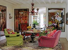Adore this room by Martyn Lawrence Bullard.  The Matador pics and the colors and vibrancy just make me want to livethere.