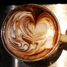 Coffee love. Love heart love. latteartguide.com like us on facebook for blog updates: https://www.facebook.com/pages/Latte-Art-Guide/493953977324432 #coffee #latteart #latte #cappuccino #coffeeart