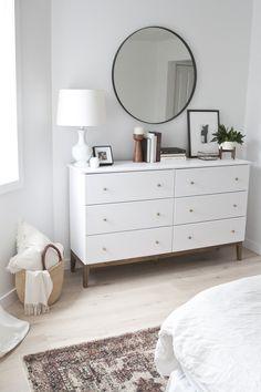Bedroom redesign - 11 Genius IKEA Bedroom Hacks That Will Blow Your Mind Bedroom Hacks, Home Decor Bedroom, Diy Bedroom, Bedroom Dressers, Stylish Bedroom, Bedroom Mirrors, Bedroom Colors, Bedroom Chest, White Drawers Bedroom