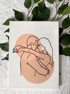Simple Canvas Paintings, Acrylic Painting Canvas, Diy Painting, Bordados Tambour, Line Art Design, Cute Couple Art, Mini Canvas Art, Embroidery Art, Diy Art