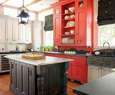 I really like this idea of a section of cabinets being arranged a bit differently, with different decorative details, and being painted a bold color, like a hutch that has been built in.  Brought to you by LG Studio