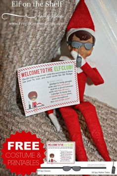 Elf on the Shelf Ideas | Elf is on a Mission, FREE printable Elf on the Shelf Costume and Printables on Fugal Coupon Living.