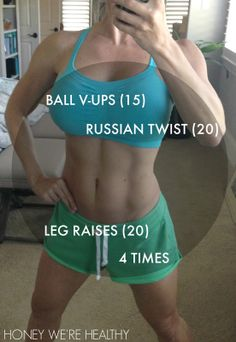 Just 3 ab exercises done 4 times in a row. The post has videos to show how to do the exercises.