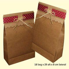 Saco de papel kraft decorado www.papelsustentavelembalagens.com.br                                                                                                                                                                                 Mais