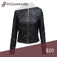 Women's Fashion faux Leather Outerwear Jacket BRAND NEW WITH TAGS!!   Size: S, L Color: Black Material: Shell- 40% PU + 60% Cotton Lining- 100% Polyester Fitting: Slim fitting Occasion: Casual Jackets & Coats