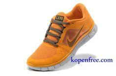 Kopen goedkoop schoenen Dames Nike Free Run 3 (kleur:flirt,binnen-oranje,logo-grijs;zool-wit) Online in nederland.