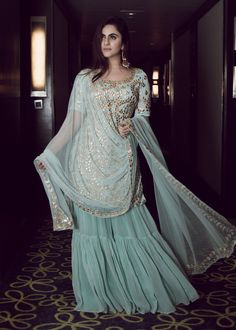turquoise georgette straight cut kameez with matching color georgette partywear designer sharara for woman and matching embellished net dupatta in similar work. Sharara Designs, Indian Attire, Indian Ethnic Wear, Pakistani Outfits, Indian Outfits, Indian Designer Outfits, Designer Dresses, Indian Designers, Bridal Outfits
