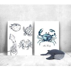 ★ n e w  i n ★ Cute postcards! Not only nice to send but also really nice on the wall  #annetweelinkdesign #like4like #tagsforlikes #watercolor #watercolour #igers #instagood #iphonesia #interiør #photooftheday #print #whale #crab#toy #kids #kidsroom #greetingcards #post #mail #sealife #seacreatures #momsofinstagram #mom #kiddos #children