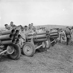 British troops with captured German Nebelwerfer rocket launchers, Tunisia 7 May 1943.