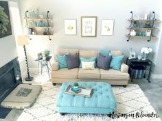 Living Room Tour 2 | Nesting on Oleander Blog | Aqua and Grey Living Room | Industrial Farmhouse Living Room | Turquoise and Grey | Beige and Grey | Tan and Grey | Pipe Shelving | West Elm | Magnolia Market || Nestingonoleander.com