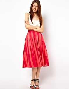 ASOS Midi Skirt In Bold Stripe (Plum/Coral [pictured] for $40, Black/white for $70)