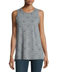 The Muscle Tee, Heather Grey Star Print, Size: L, Heather Gray - Current/Elliott