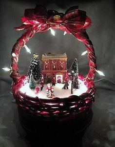 Outstanding Christmas deco info are readily available on our web pages. Christmas Village Display, Indoor Christmas Decorations, Christmas Baskets, Christmas Crafts For Gifts, Homemade Christmas Gifts, Noel Christmas, Christmas Centerpieces, Christmas Projects, Simple Christmas