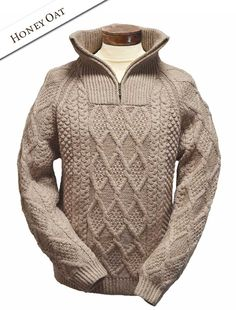Handknit Cable Knit Troyer Sweater, Fisherman Sweater