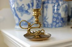 Antique Brass Dragon or Foo Candlestick Holder by PursuingVintage1 on ETSY