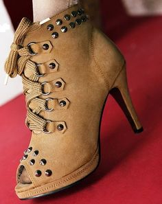 Sexy Tan Lace-Up Peep Toe High-Heeled Boots w/ Rivets