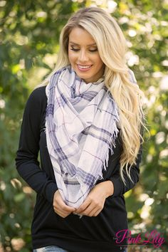 Show Me How Plaid Scarf White  CLEARANCE