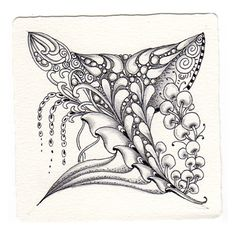 Doing some tangling - Micron pen and graphite on a Zentangle tile