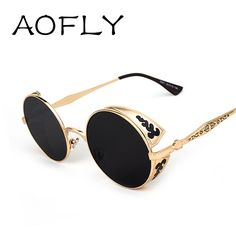 Steampunk Vintage Sunglass 2015 fashion round sunglasses women brand designer metal carving sun glasses men oculos de sol S1635-in Sunglasses from Women's Clothing & Accessories on Aliexpress.com | Alibaba Group