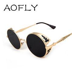 3c5126a72c 7.17 40% de DESCUENTO|Aliexpress.com: Comprar AOFLY Steampunk Vendimia  Mujeres Diseñador de la Marca de Moda de Gafas de Sol Gafas de sol Redondas  de Metal ...