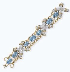 AN AQUAMARINE AND DIAMOND X BRACELET, BY JEAN SCHLUMBERGER
